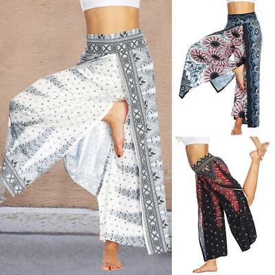 Womens Wide Leg Boho Yoga Harem Pants Comfy Indian Bohemian Palazzo Pants Unisex
