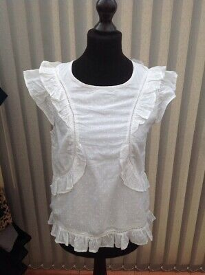 Girls Next White Cotton Frill Blouse Top Age 15 Years BNWT £17 Cap Sleeve Summer