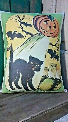 Adorable Primitive Vintage Halloween Cat Pumpkin Ghost Bats Grave Yard Pillow