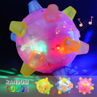 Flashing Singing Dog Bounce Ball Toys Pet Light-Up Chew Toy Jumping Joggle Play