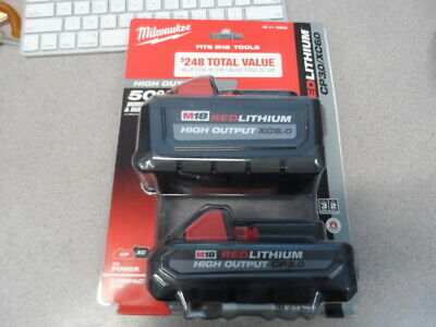 Milwaukee 48-11-1865S M18 Redlithium High Output Xc 6.0 3.0 Battery 2 Pack New