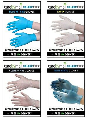 Disposable Latex, Nitrile, Vinyl Gloves - Blue White Clear - Powder Free