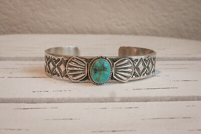 NAVAJO-STERLING & TURQUOISE BRACELET by MALONEY - NATIVE AMERICAN