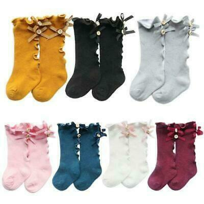 Girls Infant Baby Long Socks with Bows Ruffle Toddler Children Knee High E Sock