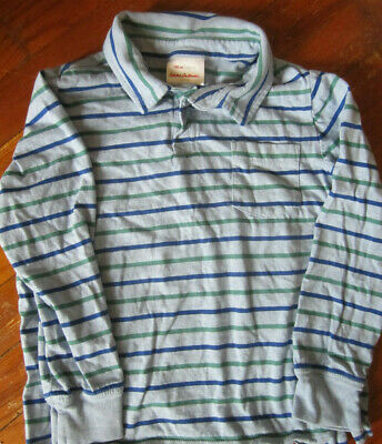 Boys Hanna Andersson Polo Long Sleeved Shirt Size 120 6 7 8 Striped Blue Green