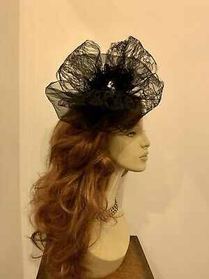 Unique Hand Crafted Large Black Fascinator Headband Ascot Wedding Church