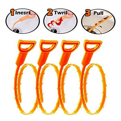 3pcs/Set Drain Snake Hair Drain Clog Remover Cleaning Tool for Kitchen Home