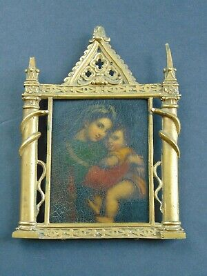 Antique Russian Oil Painting / Icon In Original Brass Frame - Madonna & Child