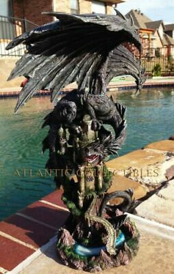 "Ebros Large 23.5"" Tall Black Dragon Guarding Castle Atop A Rocky Cliff Statue"