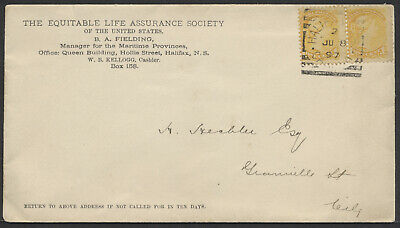 1897 Halifax Squared Circle On Equitable Life Cover to Local Address, H Hechler