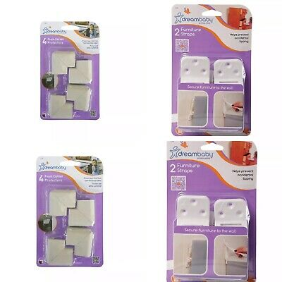 4 Pack Baby Safety Bundle  - Dreambaby Foam Corner Protectors & Furniture Straps