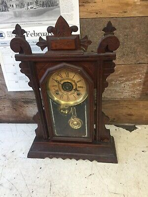 Beautiful Antique E. Ingraham 8 Day Chiming Gingerbread Mantle Shelf Clock 1930