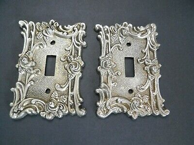 Vintage 1967 American Tack & Hardware Co #6OT Roses Brass Switch Plates Lot of 2