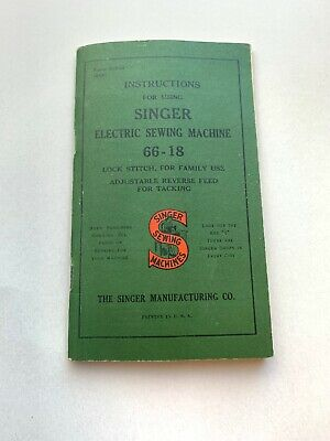 SINGER SEWING MACHINE No. 66 ORIGINAL VINTAGE INSTRUCTION MANUAL BOOK May 1916