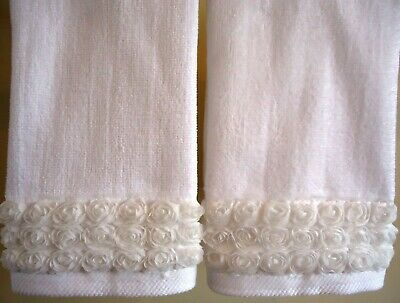 IVORY Velour Cotton by UtaLace NEW FRILLY ROSE Fingertip//Guest Towel set 2