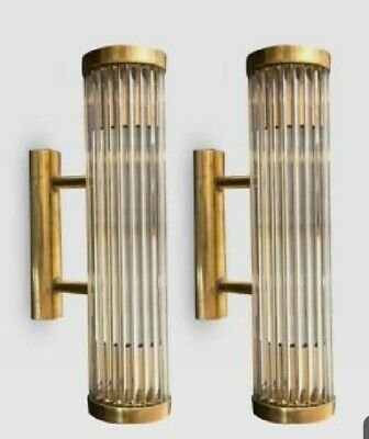 Pair Antique Old Vintage Art Deco Brass & Glass Rod Ship Light Wall Sconces Lamp