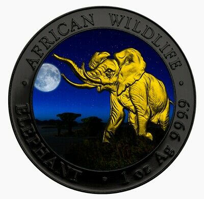 2016 AFRICAN ELEPHANT AT NIGHT Colorized Ruthenium 1oz .999 Silver Coin & Box