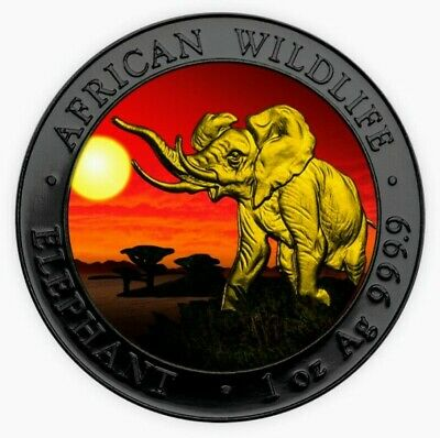 2016 Somalia AFRICAN ELEPHANT AT SUNSET Colorized Ruthenium Silver Coin & Box
