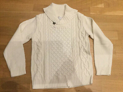 Boys H&M Beige Cable Knit Jumper Age 6-8 Years BNWT Shawl Collar Aaron