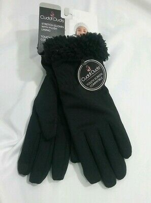 Cuddl Duds Women Stretch Gloves Black Touch Screen Compatible New