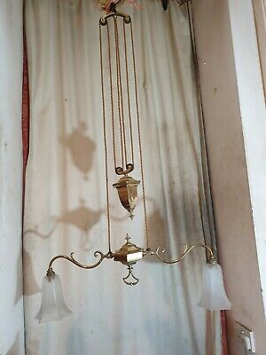 Antique Brass Rise and Fall Pull Down Chandelier Ceiling Light Counter Weight