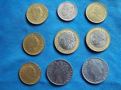 9 DIFFERENT 50 LIRE COINS from ITALY with CONSECUTIVE DATES of 1974-1982