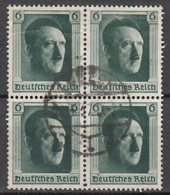 Germany - 1937 Hitler 48th birthday block of 4 from S/S Sc# B102 (7472)