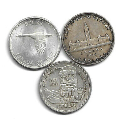 3 Canadian Silver $1 Dollar Coins - Commemorative Years - 1939, 1958, 1967