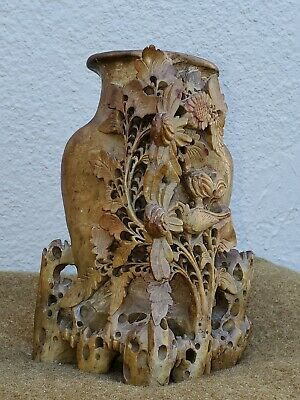ANTIQUE Hand Carved Soapstone Chinese Relief Vase Floral and birds Sculpture