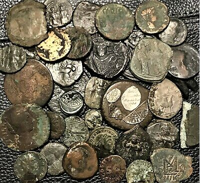 Nice Lot Of 40 Ancient Roman + Greek, Medieval + Byzantine Coins. ( 250 grams )