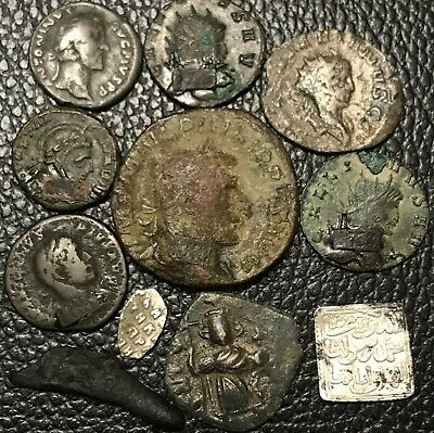 Very Nice Lot Of 11 Ancient Roman, Greek, Medieval + Byzantine Coins.(40 grams)