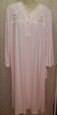 Miss Elaine Medium PM Long Sleeve Soft Warm! CuddleKnit Nightgown Pink Embrdry