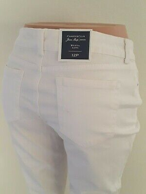 Charter club Women Pants Bristol Capri NEW Size 12P Cotton Spandex White  P3