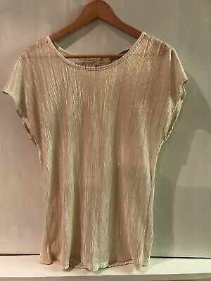 Gold Metallic Women's Top Shell Cap Sleeve NY Collection Size XL