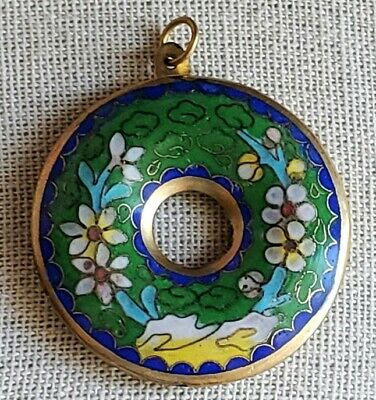 Vintage Chinese Brass Enamel Cloisonne Pendant Beautiful Green Blue & Yellow