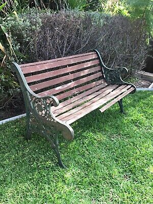 Antique Outdoor Cottage Garden Bench Seat Decorative Wrought Cast Iron Old