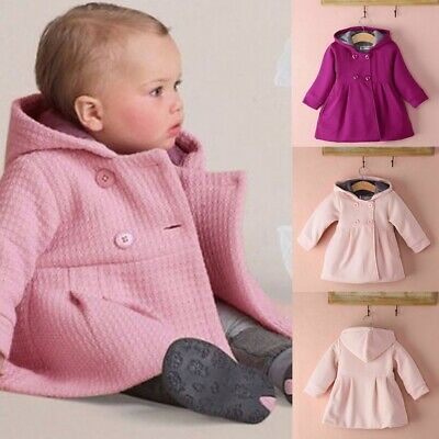 Fashion Baby Toddler Girl Hooded Cotton Blend Coat Jacket Winter Outerwear Gift