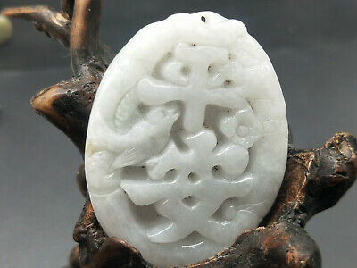 100% Delicate Chinese natural Hand-carved Myanmar Jadeite pendant Safe