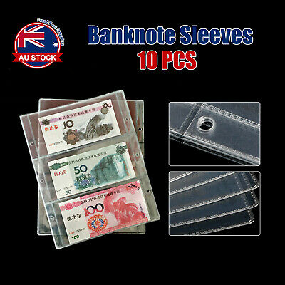 10pcs Paper Money Banknote Holders Album 3 Pockets Pages Sleeves Storage Note O