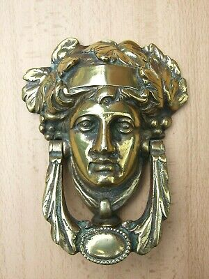 Antique Victorian or Regency Dionysus Bacchus heavy solid brass door knocker