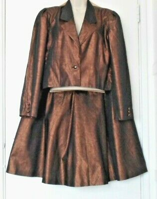 Vintage Designer Jaeger Ladies Evening Skirt Suit Metallic Copper Size 10 (mm)
