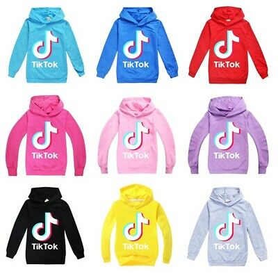 UK Tik Tok Hoodies Kids Youth Children Casual Hooded Top Long Sleeve Jumpers