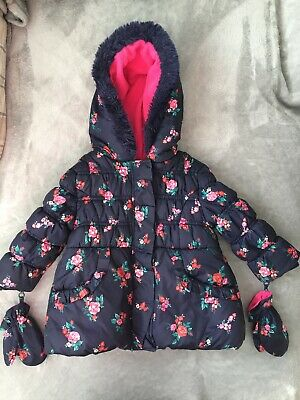 Girls Navy Floral Coat Age 1-1.5 Years - George