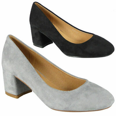 Womens Court Shoes Mid Block Heel Ladies Comfy Sole Faux Suede Work Office Size