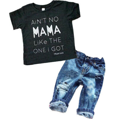 US Toddler Kids Baby Boys Girls Clothes T-shirt Tops + Denim Jeans Pants Outfits