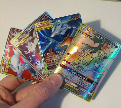 Charizard & Reshiram 4 Cards Rainbow Rare GX Tag Team Pokemon Cards