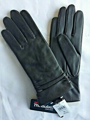WILSONS Womens Ruched Leather Gloves w 3M Thinsulate Lining, Black Sz XL NWT $80