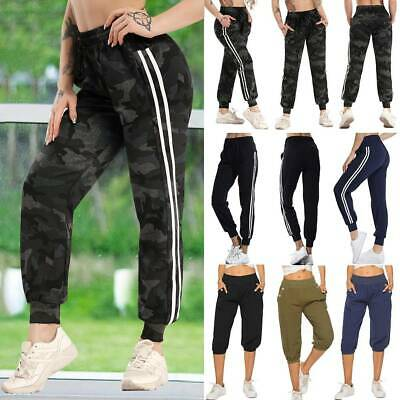 Women Side Stripe Patchwork Panels Jogger Pants Ankle Elastic Running Sweatpants