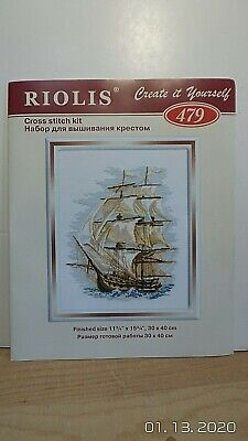 2003 Riolis Counted Cross Kit # 479 Antique Ship With Wool & Acrylic Yarn