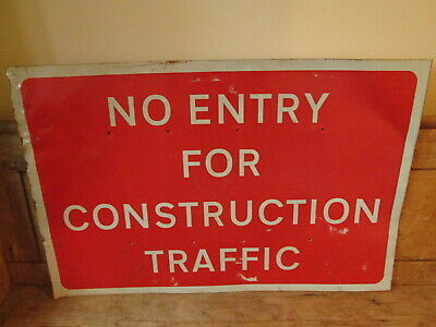 No entry for construction traffic road works sign.  traffic sign.street sign.